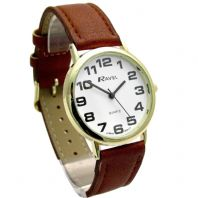 Ravel Mens Super-Clear Easy Read Quartz Watch Brown Strap White Face R0105.22.1